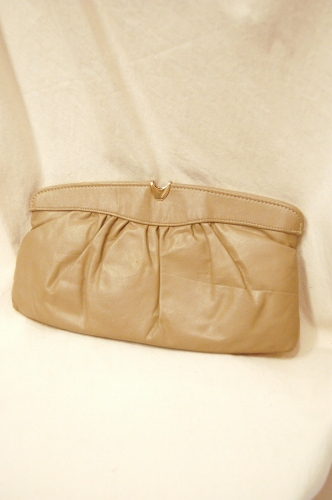 80'S~ Letisse LEATHER CLUCH & SHOULDER BAG (BEIGE)