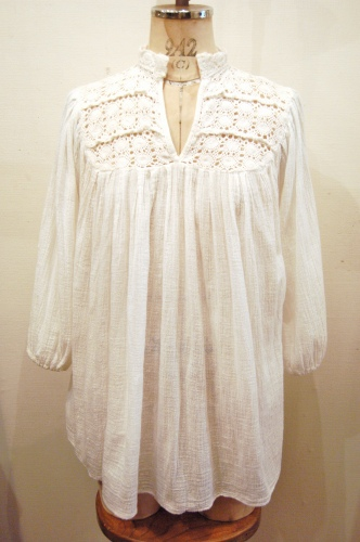 70'S~ COTTON LACE & GAUZE TUNIC TOPS (WHT)