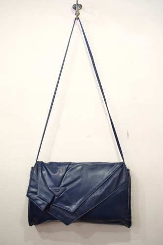 80'S~ FAKE LEATHER CLUCH & SHOULDER BAG(NVY)