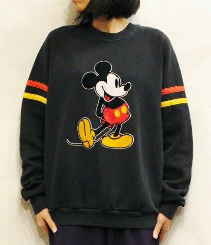 80'S FLOCKY PRINT MICKEY MOUSE SWEATSHIRTS (MADE IN USA/BLK)