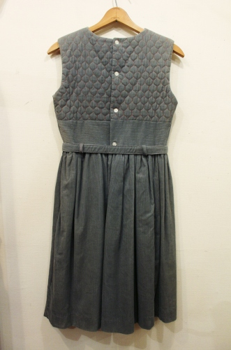 60'S CORDUROY QUILTING SLEEVELESS DRESS WITH PANNIER (GRY/RED)