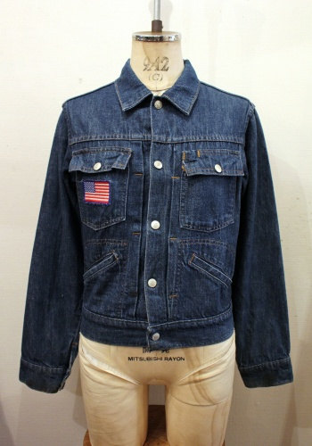 70'S~ JCPenney TOWN CRAFT FRONT PLEATED DENIM JACKET (D.BLE)