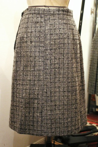 50'S~ Evan Picone CEHCK CENTER PLEATED WOOL SKIRT (GRY/WHT/BLK)