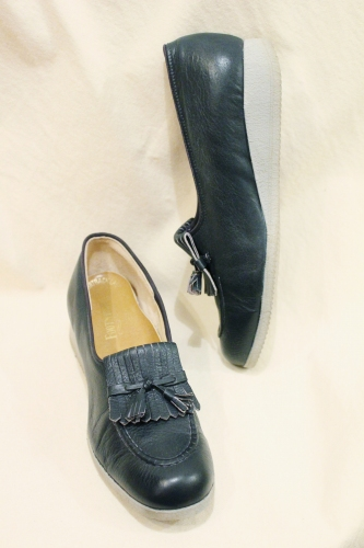 70'S~ KILT TASSEL LOW WEDGE LOAFER SHOES (NVY/L.GRY)