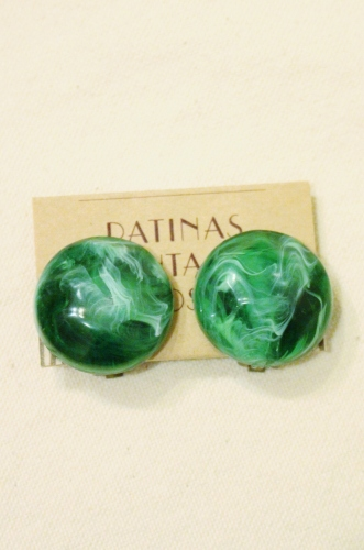 VINTAGE 60'S OLD PLASTIC MARBLE COLOR CLIP EARRINGS