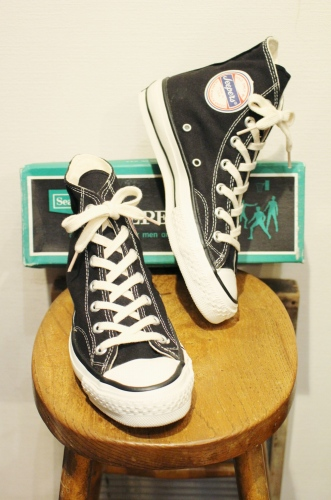 DEAD STOCK 60'S~ SEARS JEEPERS HI-CUT CANVAS SNEAKER size 4 or 4H (BLK)