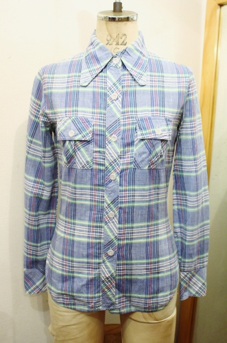 70'S CHECK INDIA COTTON LONG SLEEVE SHIRTS (C.BLE/GRN/WHT/NVY/BLE/RED)