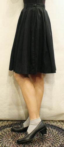 50'S BOX PLEATED COTTON SKIRT (BLK)