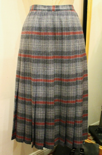 70'S PENDLETON TRATAN CHECK WOOL PLEATED SKIRT (GRY/C.GRY/RED/WHT)