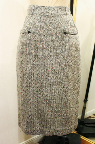 50'S NEP WOOL TIGHT LONG SKIRT (WHT/BLK/GRY)