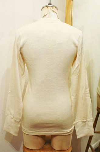 DEAD STOCK 80'S US MILITARY HENLEY NECK UNDER SHIRTS (O.WHT)
