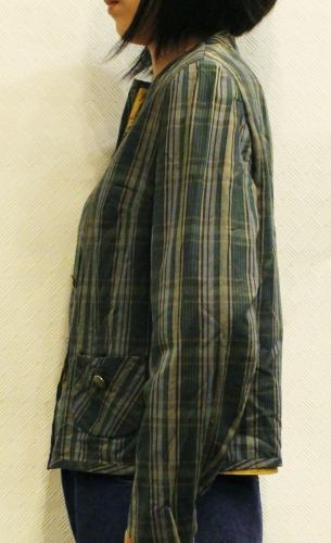60'S CHECK COTTON COLLARLESS SHORT JACKET (GRN/YLW/BLK)