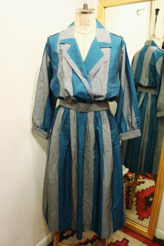 LATE 70'S~80'S LESLIE FAY STRIPE DRESS WITH BELT (GRN/GRY)
