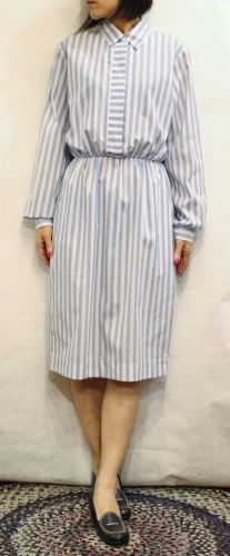 LATE 70'S~80'S STRIPE COTTON LONG SLEEVE DRESS (WHT/G.BLE)