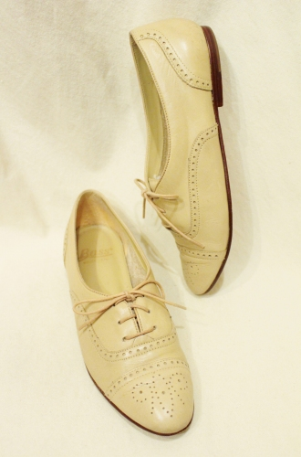 80'S~ G.H.BASS STRIGHT TIP LEATHER LACE UP SHOES (MADE IN BRAZIL/BEIGE)