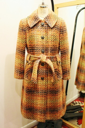 70'S~ CHECK WOOL LONG COAT WITH BELT (ORG/BRN/GRY/WHT/YLW)