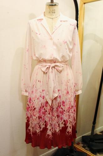 LATE 70'S BOTANICAL PRINTED PLEATED SHEER DRESS (P.PNK/BGDY)