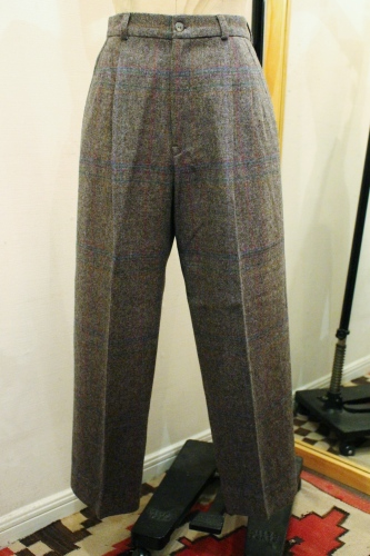 80'S CHECK WOOL TUCK PANTS (MADE IN USA/GRY)