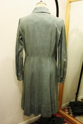 40'S GIRL SCOUT HALF ZIP GREEN CHAMBRAY UNIFORM DRESS (GRN)