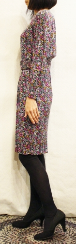 80'S FLOWER PRINTED RAYON DRESS WITH BELT (BLK/GRN/PPL/PNK/WHT)