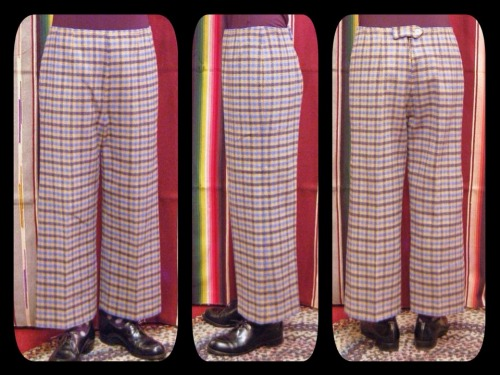 60'S~ CHECK WOOL WIDE LEG STRIGHT PANTS(CML/NVY/H.BLE)