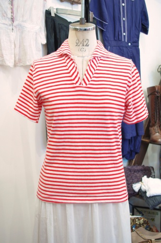 60'S~ POLO STYLE BORDER TOPS(WHT/RED)