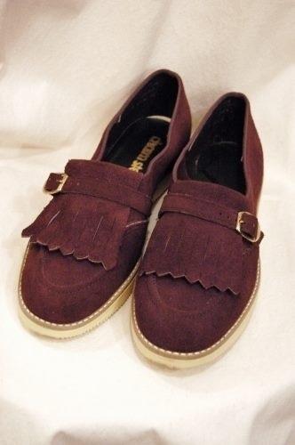 deadstock 60s belted kilt suede shoes