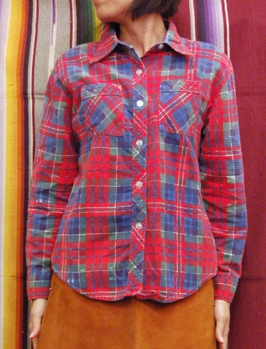 80'S~ CHECK PRINTED FLANNEL LONG SLEEVE SHIRTS (RED/NVY/GRN)