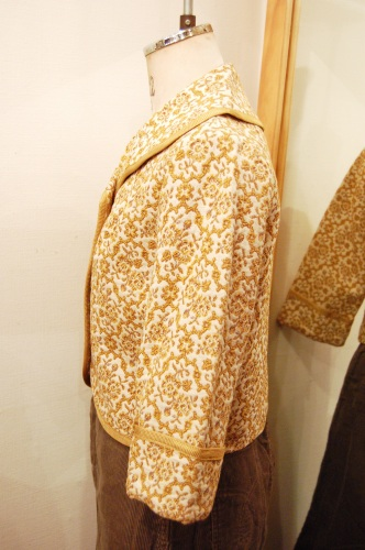 60'S~ SHAWL COLLAR EMBROIDERED SHORT JACKET (O.WHT/D.YLW/GLD)