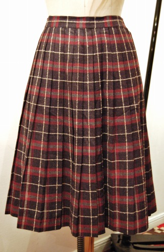 50'S~ WOOL CHECK PLEATED SKIRT (C.GRY/D.RED/GRY/WHT)
