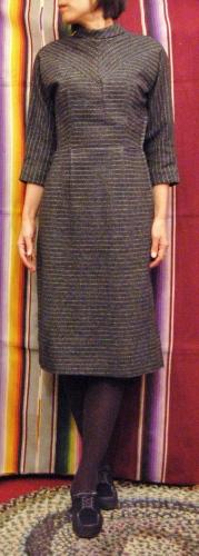50'S~60'S JONATHAN LOGAN BORDER WOOL DRESS (BLK/GRY/WHT)