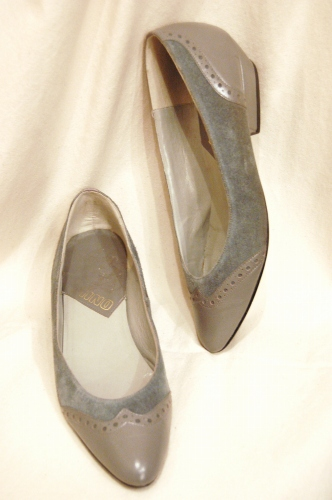 80'S~ WING TIP LEATHER SUEDE LOW HEEL PUMPS(GRY)