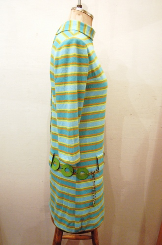 60'S~ HI-NECK BORDER DROP WAIST SCOOTER MINI DRESS WITH BELT(GRN/YLW)
