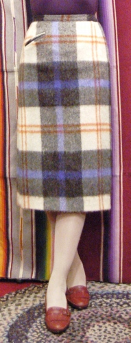 60'S~ WOOL MOHAIR CHECK PENCIL SKIRT (O.WHT/BLK/BLE/R.BRN)