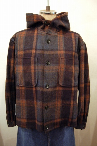 60'S~ CHECK WOOL HOODED CPO SHIRT JACKET (BLK/D.BLE/BRN)