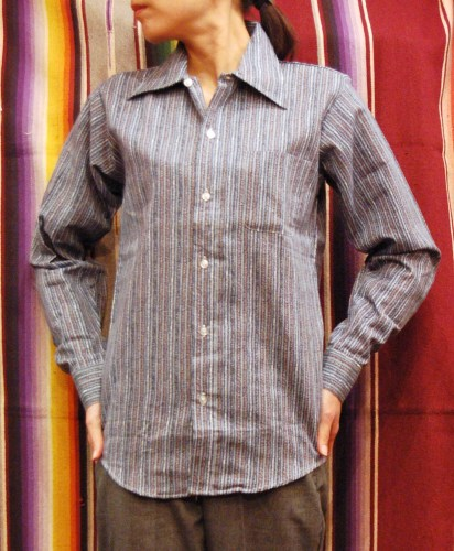 DEAD STOCK 70'S~ ELY PIRNTED LONG SLEEVE SHIRTS (B.GRY/D.BLE/BRN/WHT)