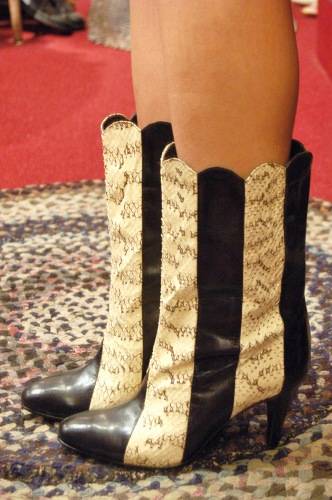 80'S~ LEATHER & SNAKE SKIN POINTED TOE HIGH HEEL BOOTS(BLK)