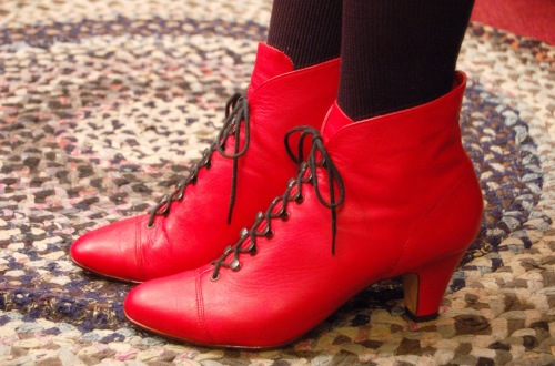 80'S~ LEATHER LACE UP SHORT BOOTS(RED/MADE IN BRAZIL)