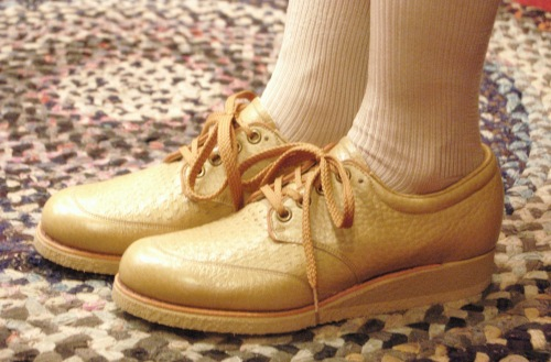 70'S~ LOW WEDGE LEATHER LACE UP SHOES(TAN)