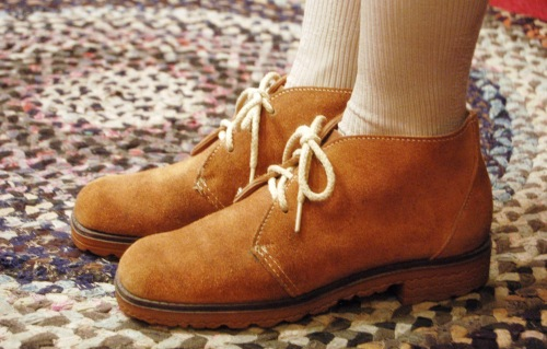 70'S~SUEDE LACE UP SHORT BOOTS(L.BRN/MADE IN USA)