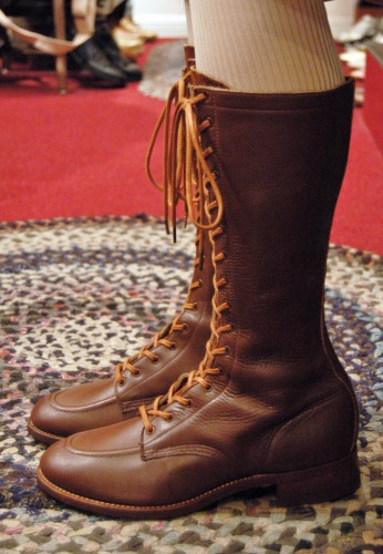 DEAD STOCK 30'S~40'S 16 HOLE LACE UP LONG BOOTS(D.BRN)