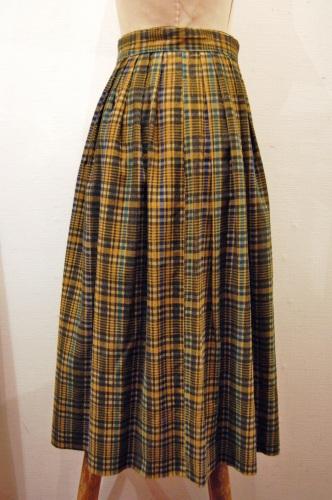 50's~ Check Corduroy Pleat Skirt