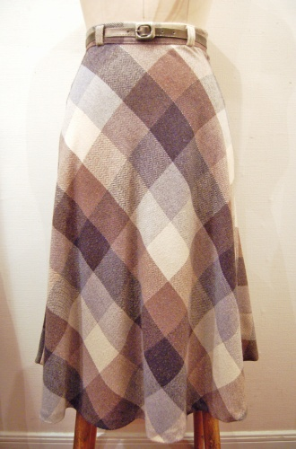 70'S~ BLOCK CHECK WOOL LONG FLARE SKIRT WITH BELT (BRN/GRY/O.WHT)