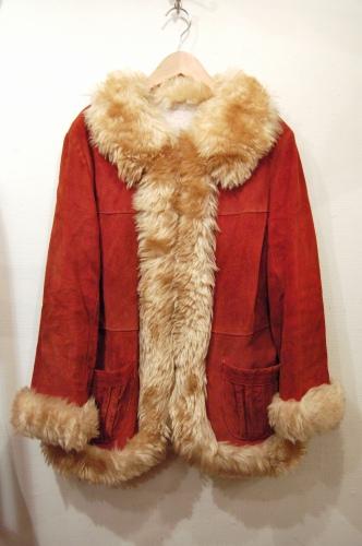vintage faux fur suede coat