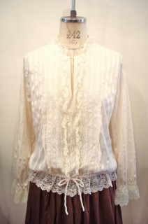 80'S~PULL OVER LACE FRILL SEE-THROUGH TOPS(W.CRM)