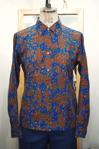 DEAD STOCK 60'S~ SHAPELY PAISLEY COTTON L/S B.D. BOX SHIRTS (BLE.RED.OLV.YLW)