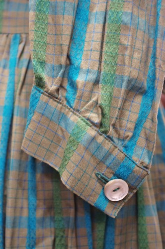 60'S~ PUFF SLEEVE CHECK COTTON DRESS(P.GRN/WHT)