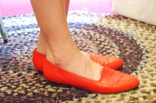 80'S~ CONNIE POINTED TOE FLAT PUNPS(I.RED)