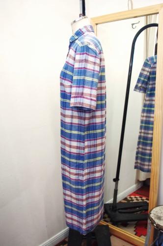 60'S~ INDIA MADRAS SHORT SLEEVE SHIRTS DRESS(WHT/BLE/REDO/YLW)