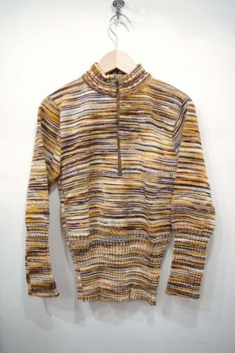 vintage half zip rib knit tops